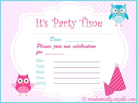 printable children s party invitations free free printable birthday invitations random talks