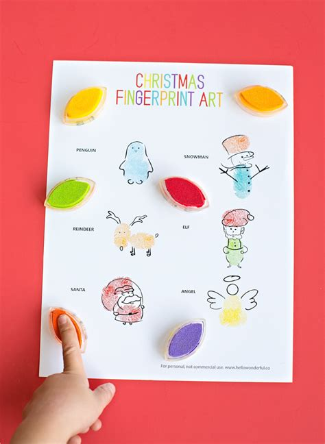 printable christmas art projects hello wonderful christmas fingerprint art easy winter