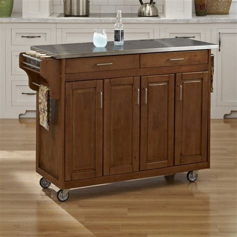 shop home styles brown scandinavian kitchen cart at lowes