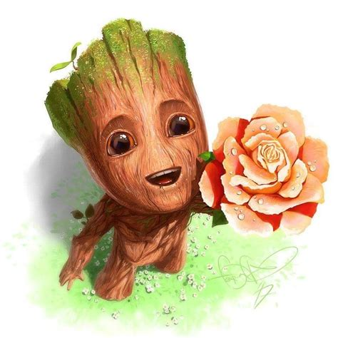 here s baby groot giving you a flower to brighten your day