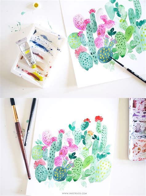 tutorial drawing watercolor cactus painting tutorial in watercolor inkstruck studio