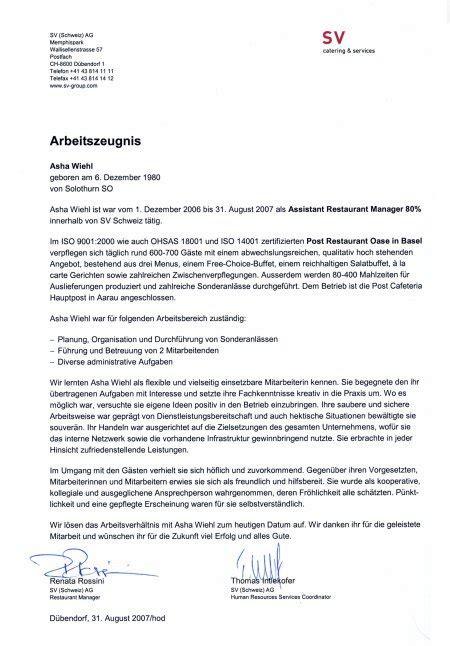 Bewerbung Muster Gartner arbeitszeugnis sv schweiz ag asha wiehl