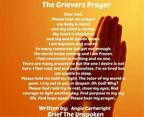 Prayer Of Comfort For The Bereaved by Grief Prayer Quotes Sayings