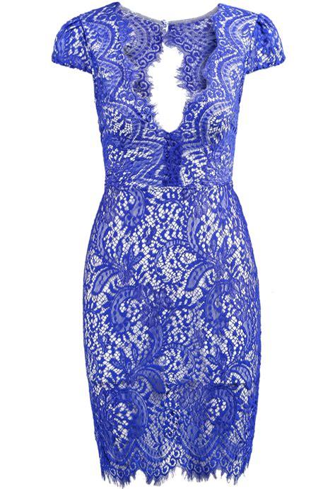 blue pattern lace dress floral crochet backless lace dressfor women romwe