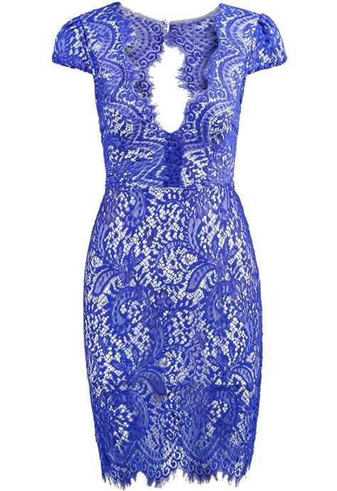 Blue Pattern Lace Dress | blue deep v neck short sleeve lace dress shein sheinside