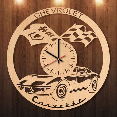 Handmade Clocks Wood - chevrolet corvette handmade wood wall clock a