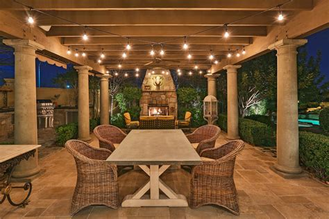 Patio With Lights Outdoor String Lighting Patio Farmhouse With Trellis Traditional Lounge Chairs