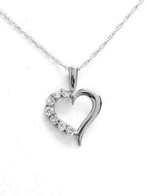 "14K Real White Gold Heart Charm Necklace CZ 18"" Chain 