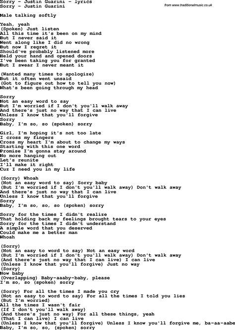 song of lyrics song lyrics for sorry justin guarini