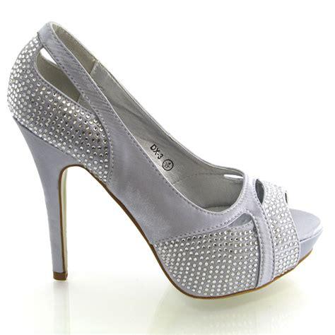 Dressy Wedge Heels For Wedding by Diamante Peep Toe Womens Dressy Evening Prom Heels