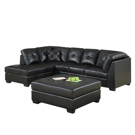 Darie Leather Sectional Sofa Coaster Darie Leather Sectional Sofa With Ottoman In Black 500606 500607 Pkg