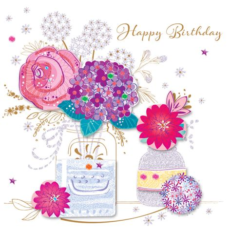 Pictures Of Flowers For Birthday Cards vase flowers happy birthday greeting card cards kates