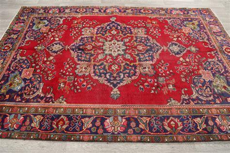 Clearance Red 6x9 Mashad Persian Area Rug Wool Oriental Area Rug Clearance