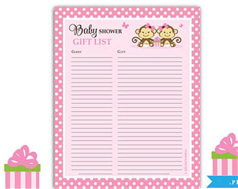 Baby Shower Sign In Sheet Template by Monkeys Guest Gift List Guest Sign In Sheet Card