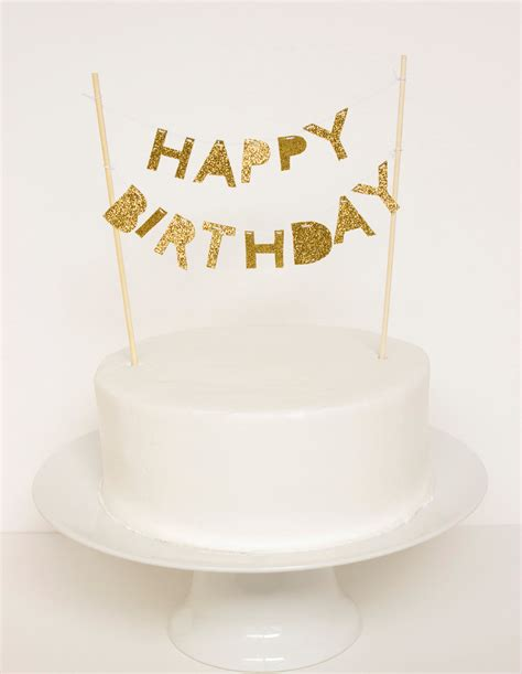 Birthday Cake Toppers by Happy Birthday Cake Topper Gold Glitter