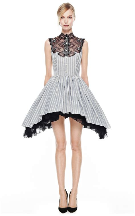 Two Side Draped Skirt striped dress with side draped skirt and lace plastron moda operandi