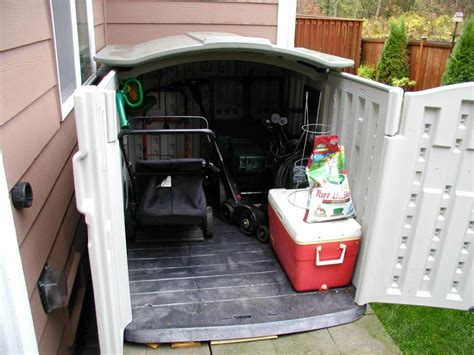 backyard store what size tool shed will a lawn mower fit in