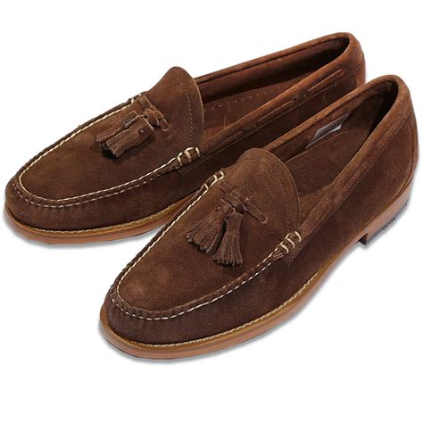 velour loafers bass weejuns larkin velour tassel loafer brown suede