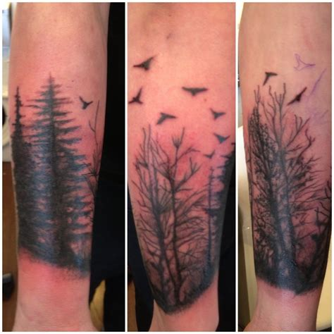forearm forest tattoo forest arm blacktattoo designs