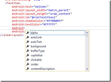 android layout xml xsd get intellisense for axml files in visual studio 博客 云栖社区 阿里云