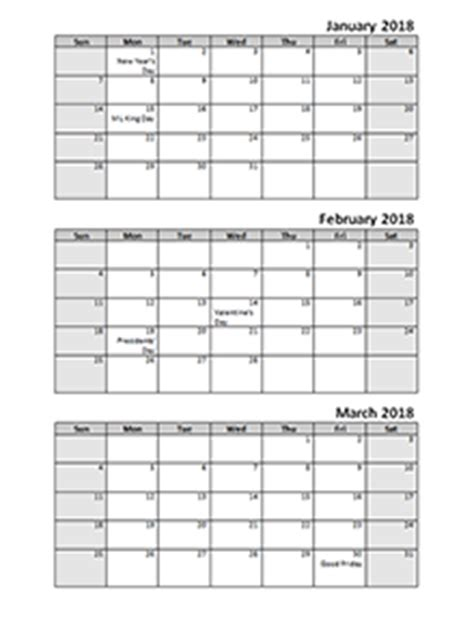 printable calendar first quarter 2018 printable 2018 calendar templates download 2018 monthly yearly