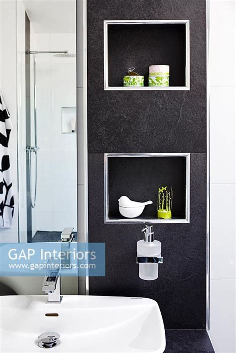 bathroom alcove shelves gap interiors alcove shelves in modern bathroom image