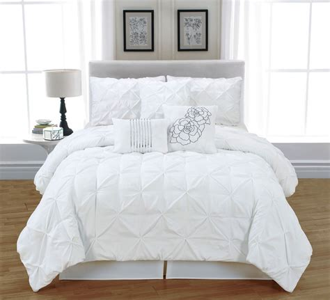 White Bed Set by 7 Pc White Tufted Pinch Pleat King Comforter Set Bed In A