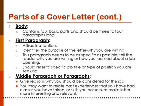 components of a cover letter planning for your career ppt