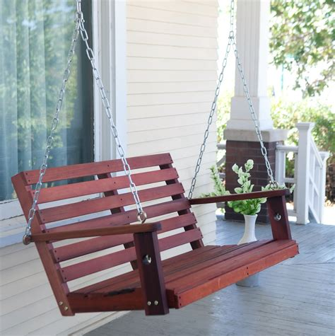 hanging wooden swing bench brown wooden swing bench for front porch with nail trim