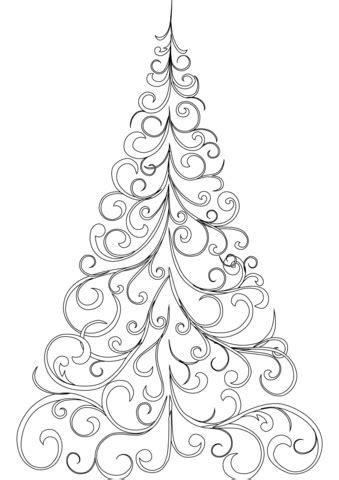 swirly christmas tree coloring page  printable