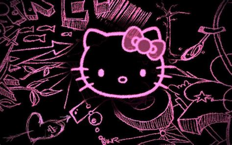 wallpaper hello kitty pink black black and pink hello kitty wallpapers wallpaper cave