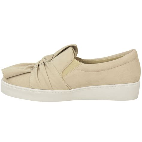 new womens trainers faux suede slip on flat bow