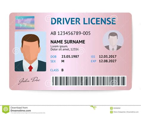 flat driver license plastic card template id card