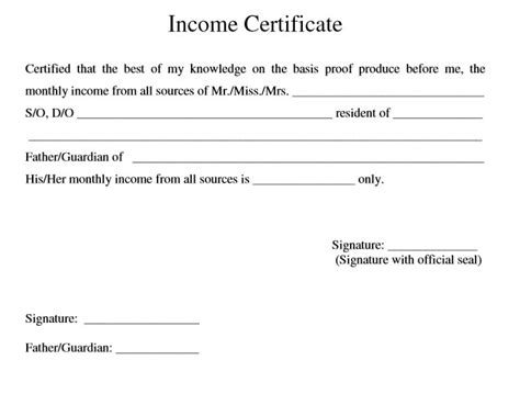 9 free sle income certificate templates printable sles