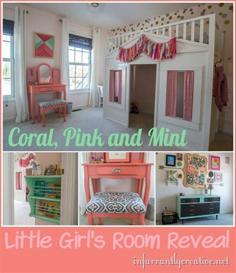coral mint  pink  girls room reveal