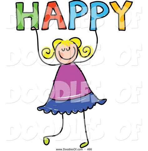happy clipart vector clipart of a happy holding the word happy by