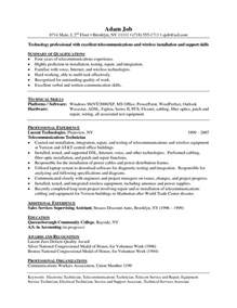 Tech Resume Sles by Network Cable Installer Resume