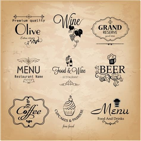 Menu Design Label | label set for restaurant menu design free vector in adobe