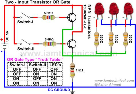 pnp transistor and gate two input or gate using npn transistor iamtechnical