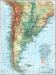 Map Of Southern America by Physical And Political Map Of Southern South America