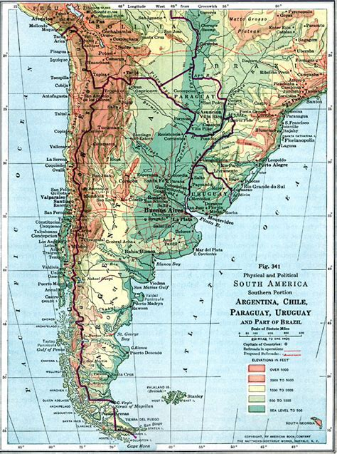 south america physical political map physical and political map of southern south america