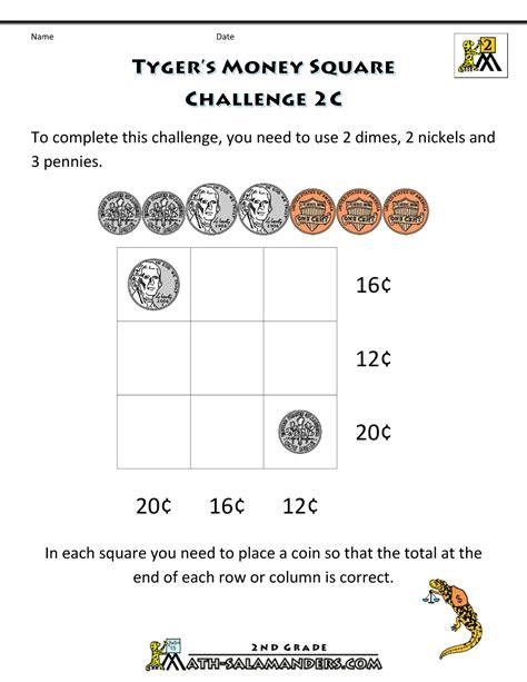 printable math worksheets grade 2 money free printable money worksheets money challenges