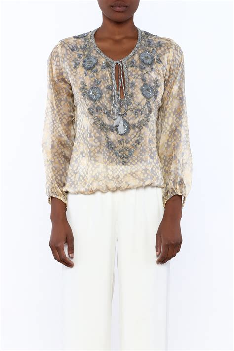 Embroidery Sabrina Blouse 5 taj by sabrina crippa silk printed blouse from new