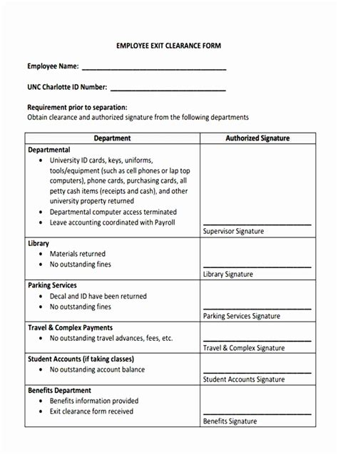 clearance form template 7 employee exit clearance form template aovte templatesz234