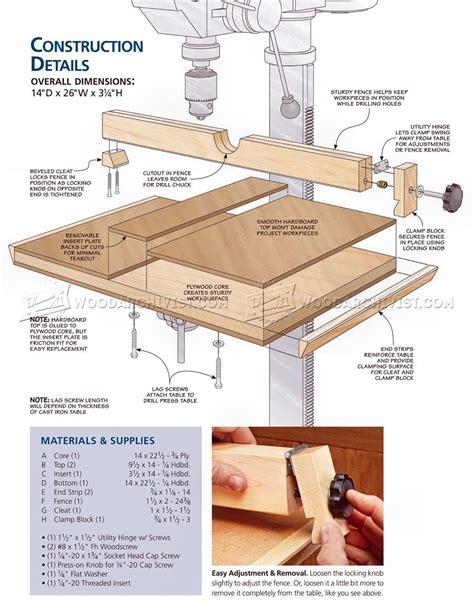 drill press table plan woodarchivist
