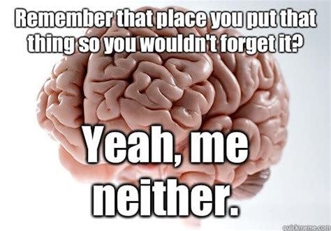 Scumbag Brain Meme - remember that place you put that thing so you wouldn t