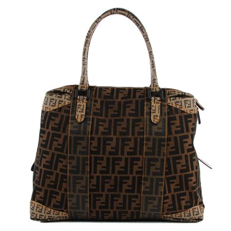 Fendi B Mix Large Tote by Fendi Canvas Spalmati Zucca Large B Mix Tote Tobacco 117702