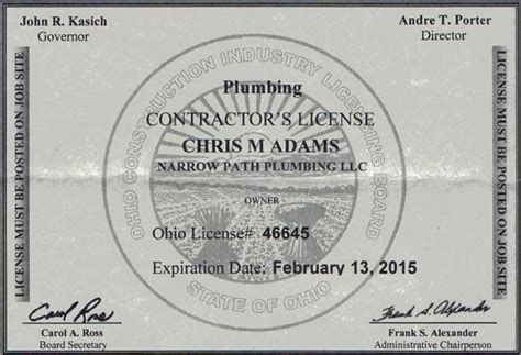 Ohio Plumbing License by Contractor S License Plumbing And Excavation Experts