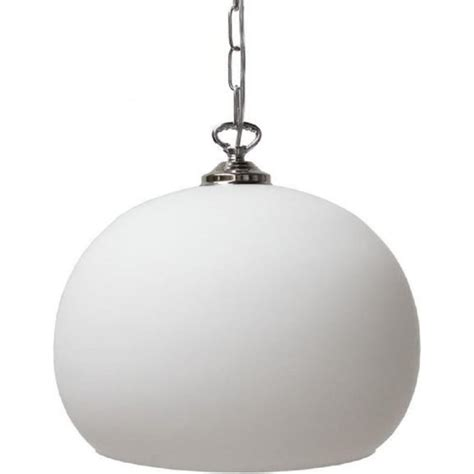 Opal Glass Pendant Light Spherical Opal Glass Ceiling Pendant Light On Chrome Suspension