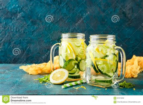 Lemon Celery Detox by Detox Water With Cucumber Stock Photo Image Of Background